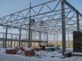Процесс возведения каркаса производственного здания.