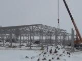 Строительство ангара из металлоконструкций зимой